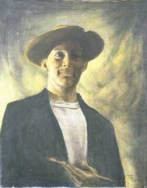 Self Portrait With Straw Hat--24x30 1989